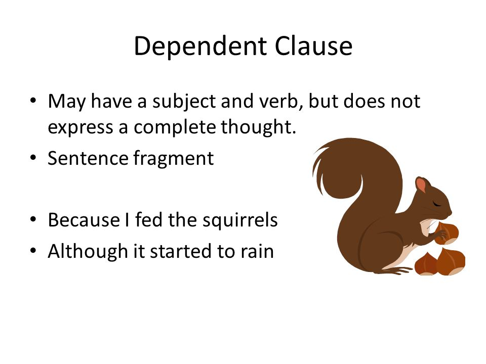 Dependent Clause May have a subject and verb, but does not express a complete thought. Sentence fragment Because I fed the squirrels Although it start