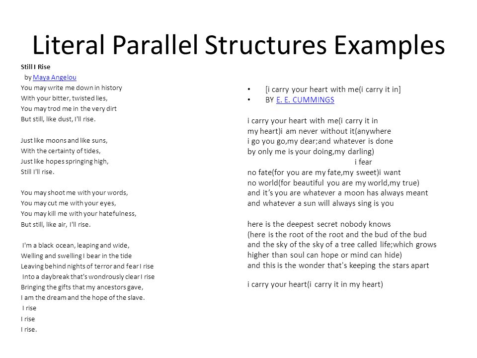 Literal Parallel Structures Examples Still I Rise by Maya AngelouMaya Angelou You may write me down in history With your bitter, twisted lies, You may