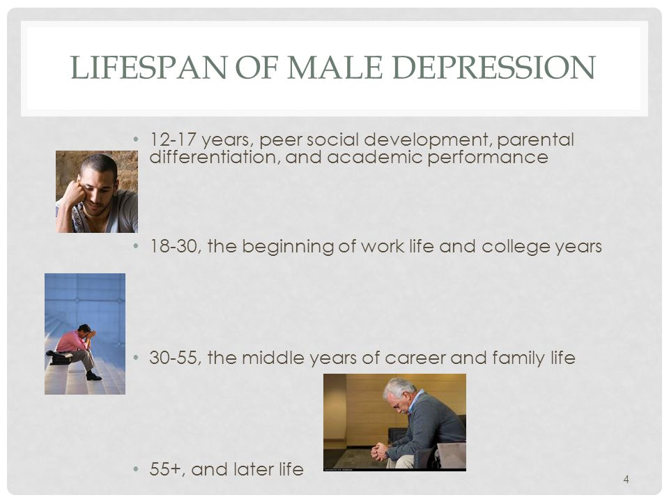 LIFESPAN OF MALE DEPRESSION 12-17 years, peer social development, parental differentiation, and academic performance 18-30, the beginning of work life and college years 30-55, the middle years of career and family life 55+, and later life 4