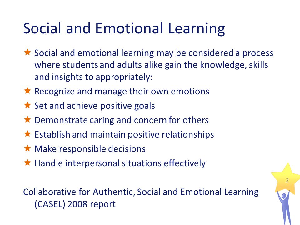 Social and Emotional Learning  Social and emotional learning may be considered a process where students and adults alike gain the knowledge, skills and insights to appropriately:  Recognize and manage their own emotions  Set and achieve positive goals  Demonstrate caring and concern for others  Establish and maintain positive relationships  Make responsible decisions  Handle interpersonal situations effectively Collaborative for Authentic, Social and Emotional Learning (CASEL) 2008 report 2