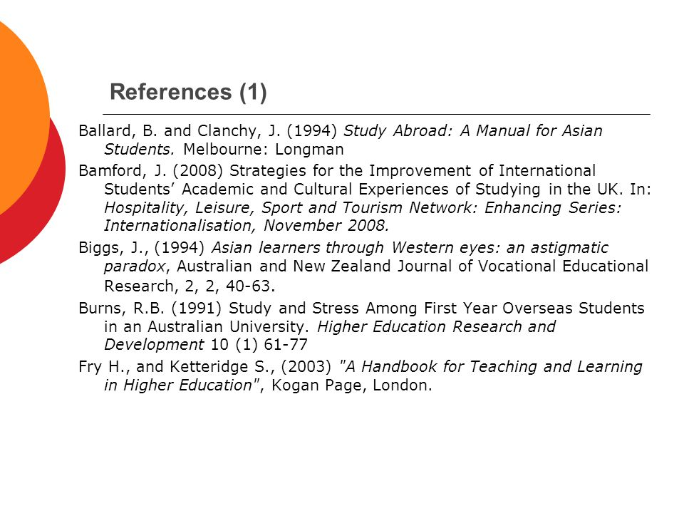 References (1) Ballard, B. and Clanchy, J. (1994) Study Abroad: A Manual for Asian Students.