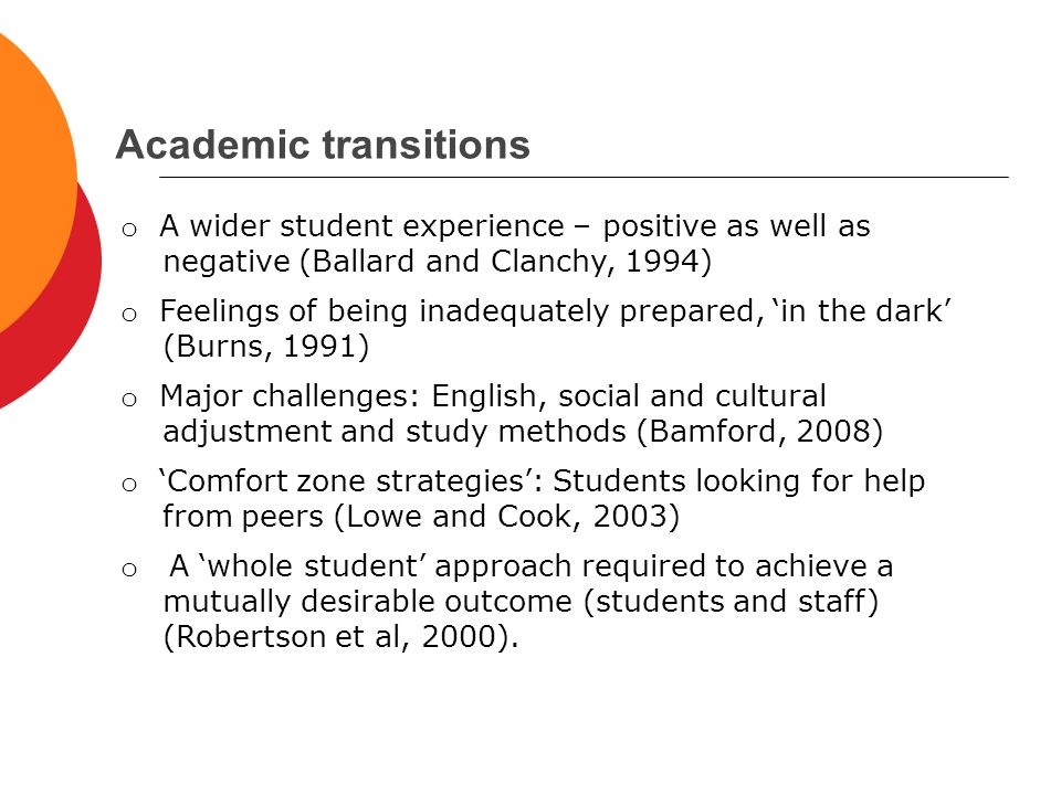 Academic transitions o A wider student experience – positive as well as negative (Ballard and Clanchy, 1994) o Feelings of being inadequately prepared, 'in the dark' (Burns, 1991) o Major challenges: English, social and cultural adjustment and study methods (Bamford, 2008) o 'Comfort zone strategies': Students looking for help from peers (Lowe and Cook, 2003) o A 'whole student' approach required to achieve a mutually desirable outcome (students and staff) (Robertson et al, 2000).