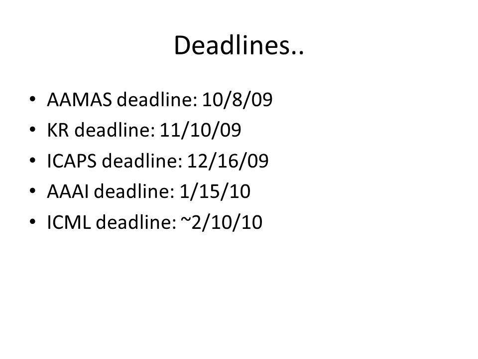 Deadlines..