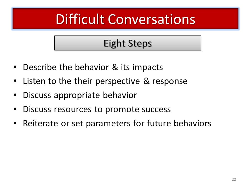 22 Describe the behavior & its impacts Listen to the their perspective & response Discuss appropriate behavior Discuss resources to promote success Reiterate or set parameters for future behaviors Difficult Conversations Eight Steps