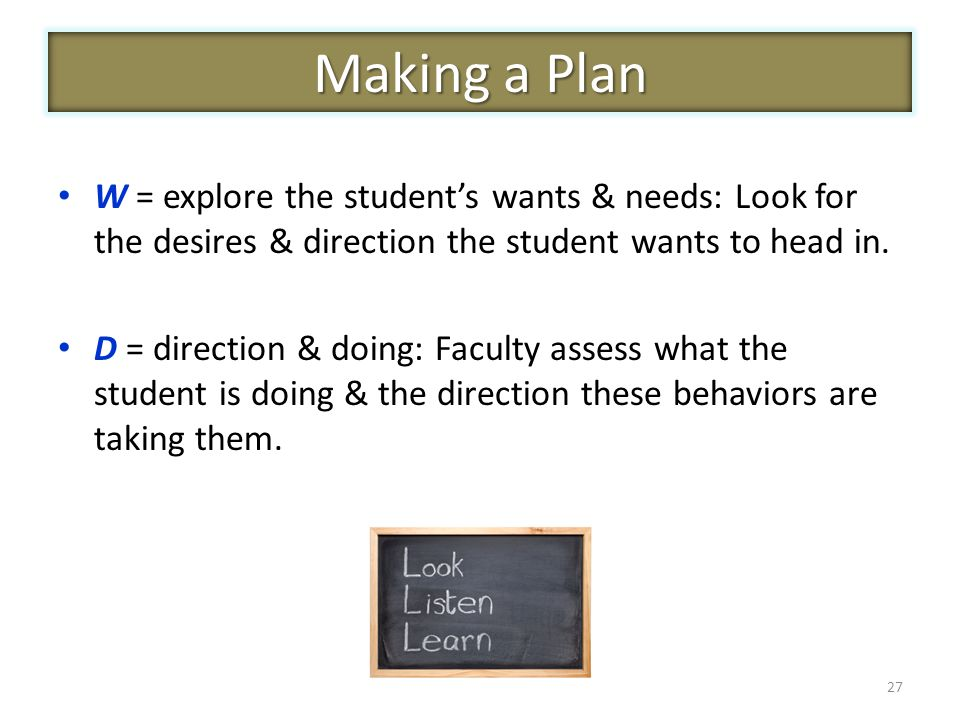 W = explore the student's wants & needs: Look for the desires & direction the student wants to head in.