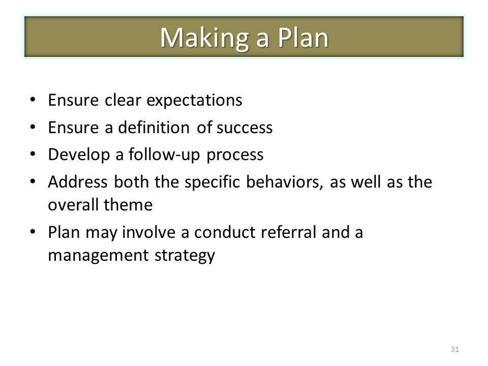 Ensure clear expectations Ensure a definition of success Develop a follow-up process Address both the specific behaviors, as well as the overall theme Plan may involve a conduct referral and a management strategy 31 Making a Plan