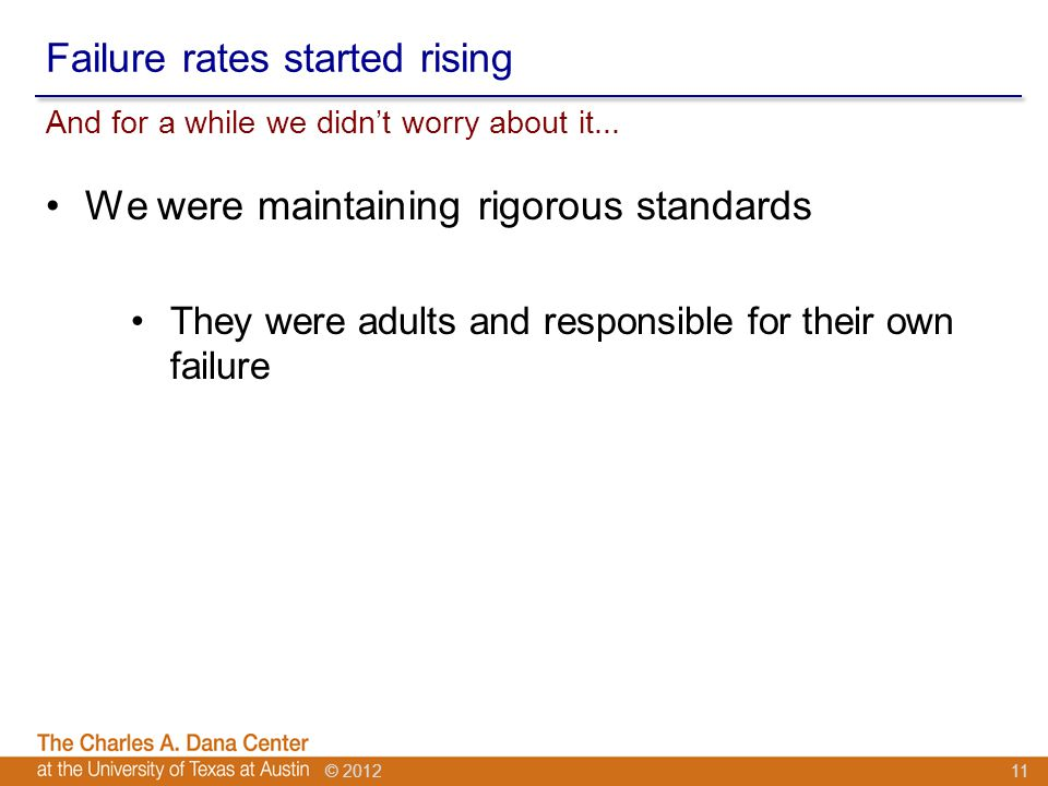 © 2012 Failure rates started rising And for a while we didn't worry about it...