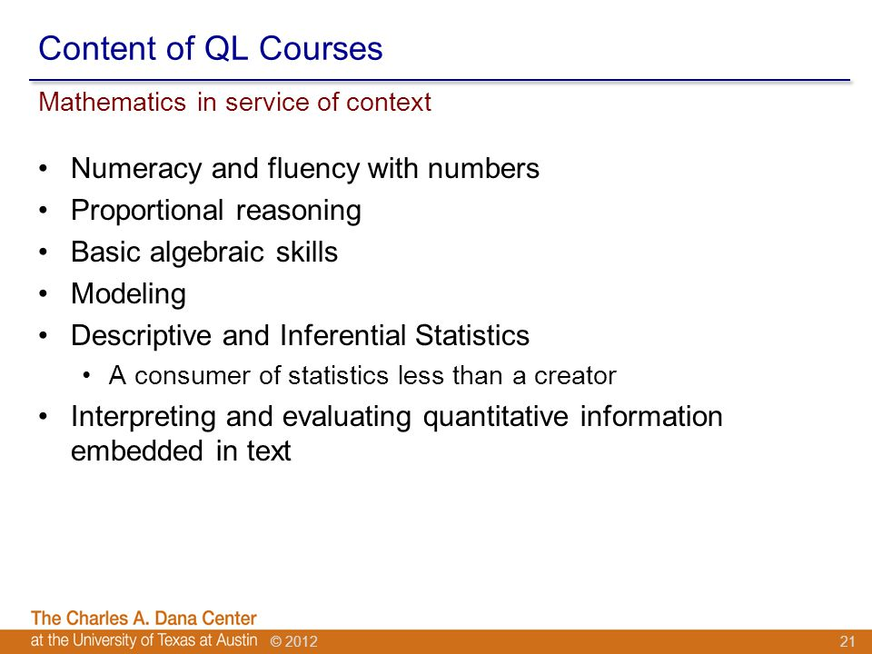 © 2012 Content of QL Courses Numeracy and fluency with numbers Proportional reasoning Basic algebraic skills Modeling Descriptive and Inferential Statistics A consumer of statistics less than a creator Interpreting and evaluating quantitative information embedded in text Mathematics in service of context 21