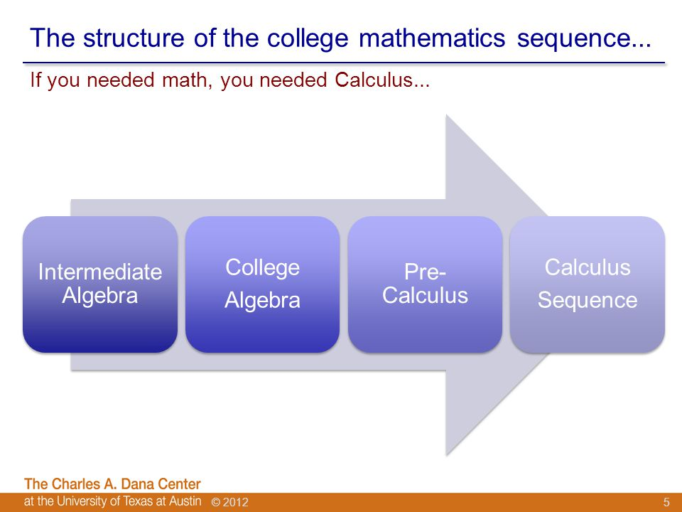 © 2012 The structure of the college mathematics sequence...