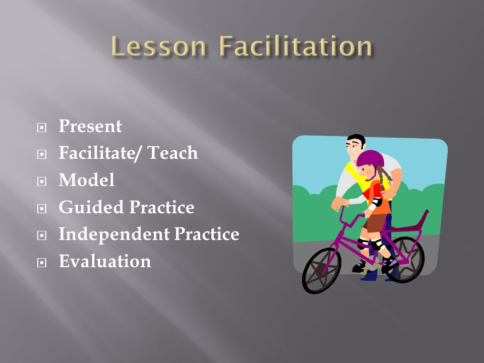  Present  Facilitate/ Teach  Model  Guided Practice  Independent Practice  Evaluation