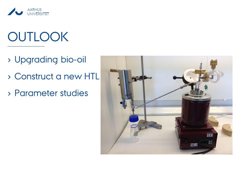 AARHUS UNIVERSITET OUTLOOK › Upgrading bio-oil › Construct a new HTL reactor › Parameter studies