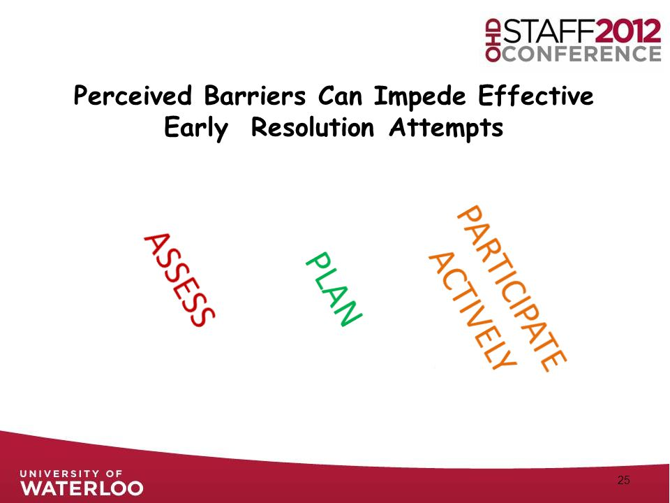 25 Perceived Barriers Can Impede Effective Early Resolution Attempts
