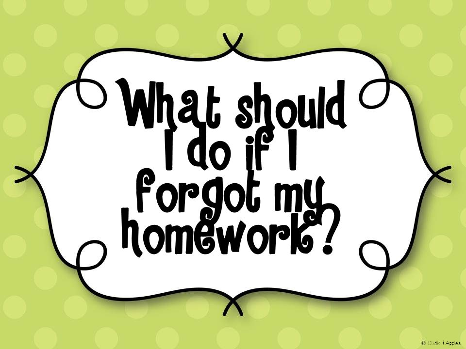What should I do if I forgot my homework? © Chalk & Apples