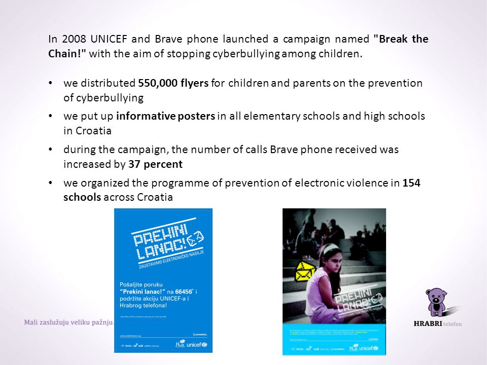In 2008 UNICEF and Brave phone launched a campaign named Break the Chain! with the aim of stopping cyberbullying among children.