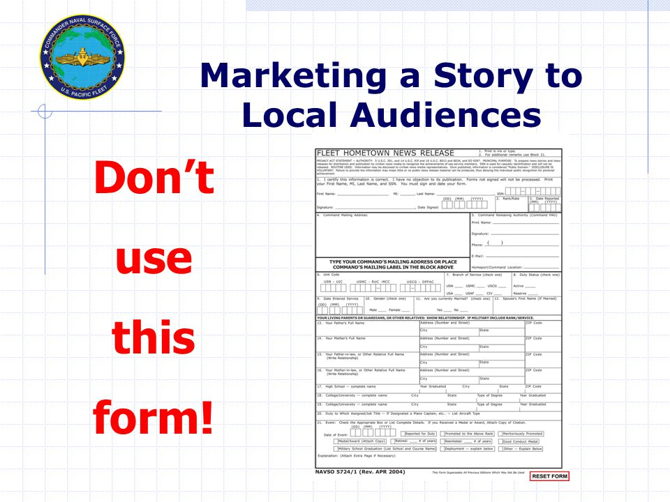 Don't use this form! Marketing a Story to Local Audiences