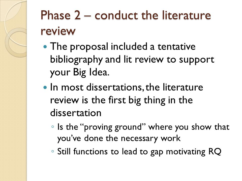 Phase 2 – conduct the literature review The proposal included a tentative bibliography and lit review to support your Big Idea.