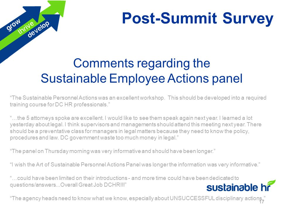 Post-Summit Survey 17 Comments regarding the Sustainable Employee Actions panel The Sustainable Personnel Actions was an excellent workshop.