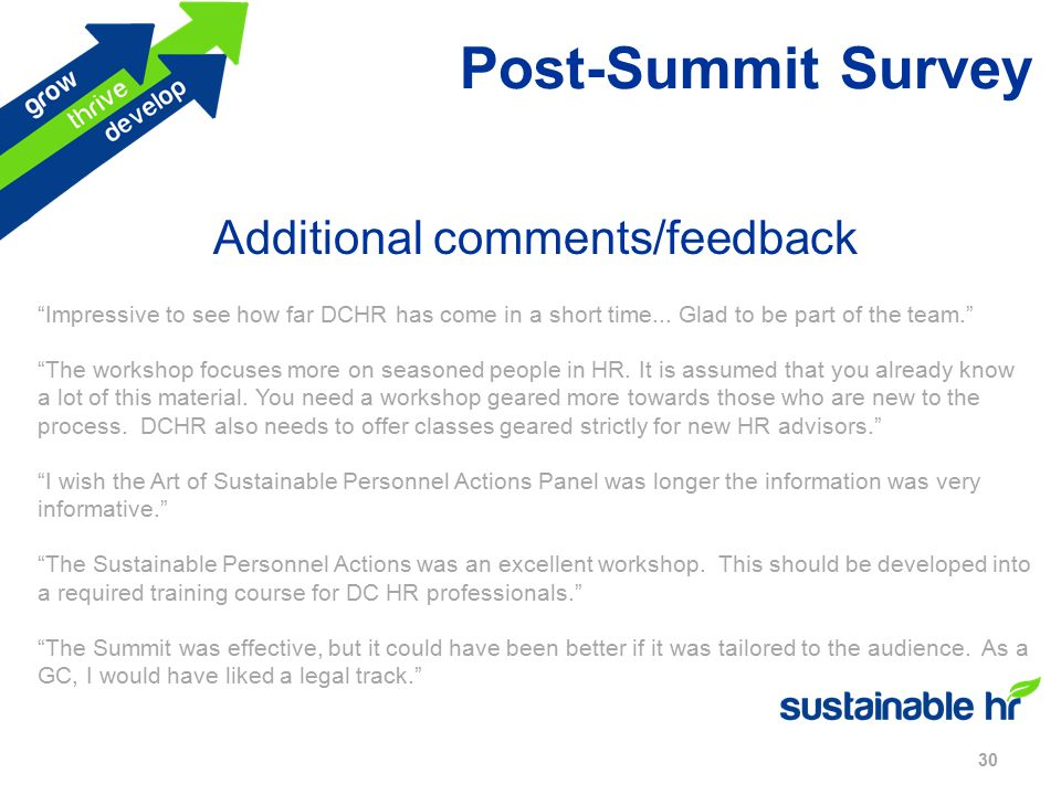 Post-Summit Survey 30 Additional comments/feedback Impressive to see how far DCHR has come in a short time...