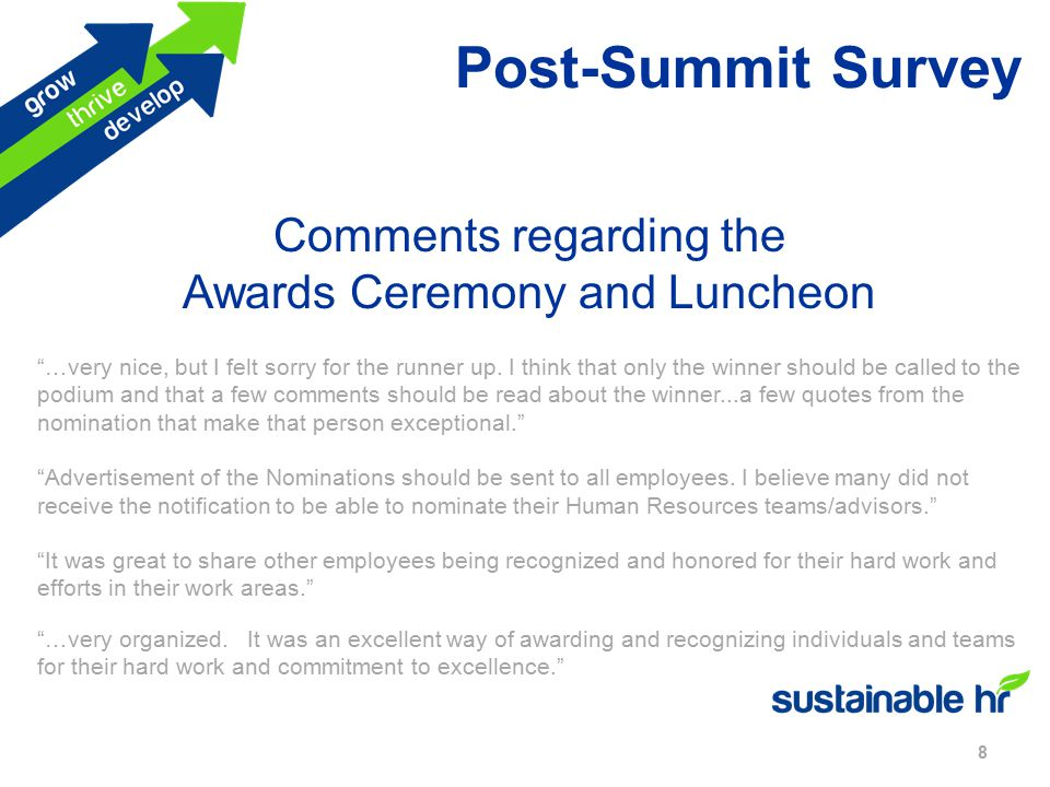Post-Summit Survey 8 Comments regarding the Awards Ceremony and Luncheon …very nice, but I felt sorry for the runner up.