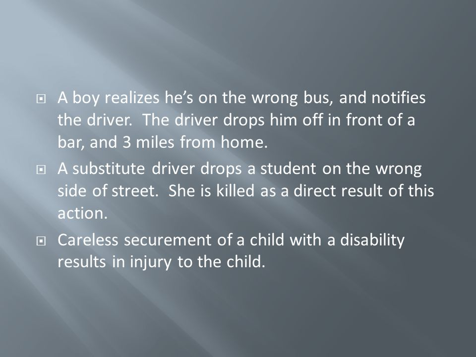  A boy realizes he's on the wrong bus, and notifies the driver. The driver drops him off in front of a bar, and 3 miles from home.  A substitute dri