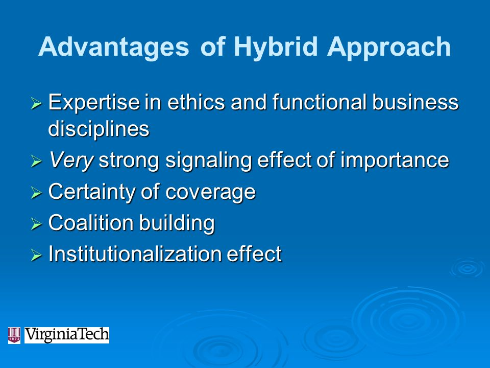 Advantages of Hybrid Approach  Expertise in ethics and functional business disciplines  Very strong signaling effect of importance  Certainty of co