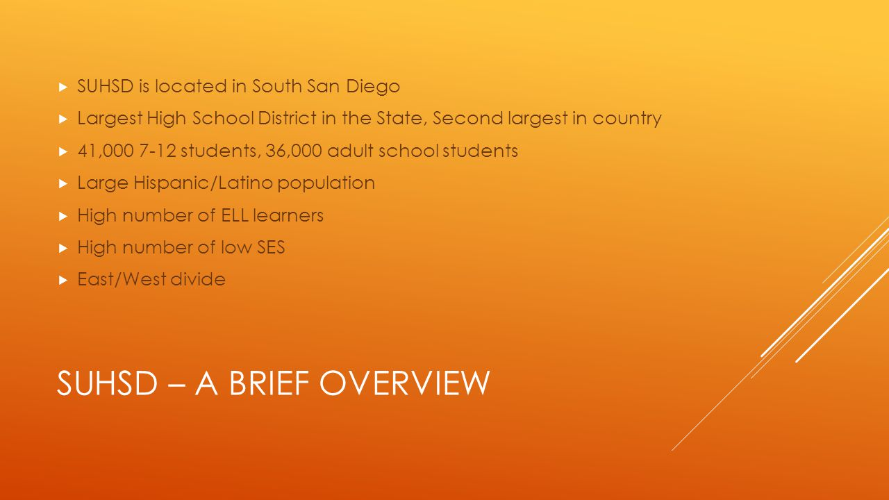 SUHSD – A BRIEF OVERVIEW  SUHSD is located in South San Diego  Largest High School District in the State, Second largest in country  41,000 7-12 students, 36,000 adult school students  Large Hispanic/Latino population  High number of ELL learners  High number of low SES  East/West divide