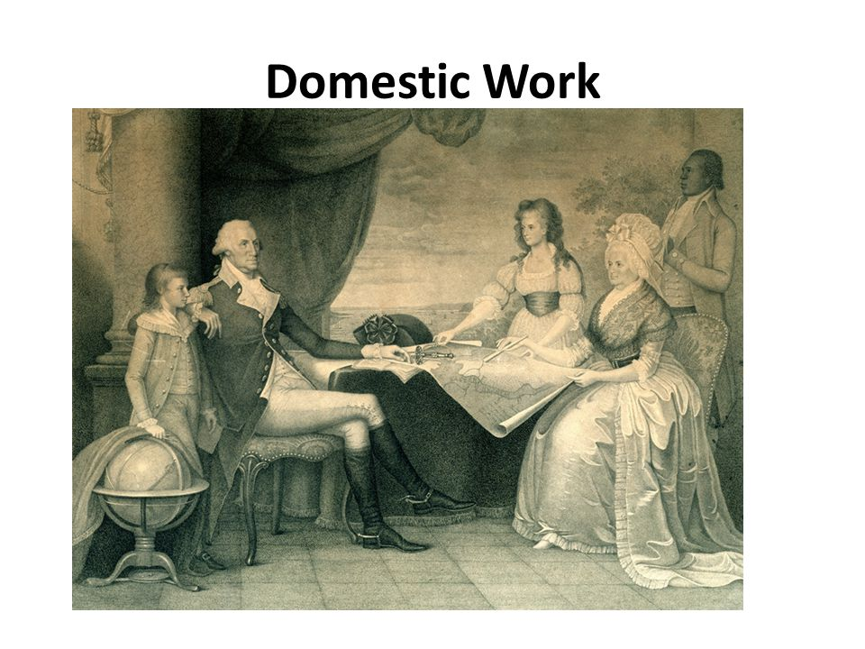 Domestic Work- Work done inside the house Slaves would have work to do in their own cabin as well as owners house Slaves were taught that domestic work was the highest honor Fanned owners while they slept