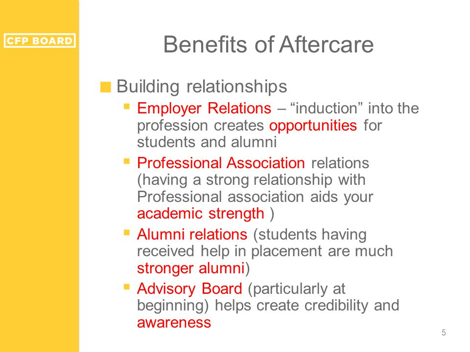 Benefits of Aftercare ■ Building relationships  Employer Relations – induction into the profession creates opportunities for students and alumni  Professional Association relations (having a strong relationship with Professional association aids your academic strength )  Alumni relations (students having received help in placement are much stronger alumni)  Advisory Board (particularly at beginning) helps create credibility and awareness 5