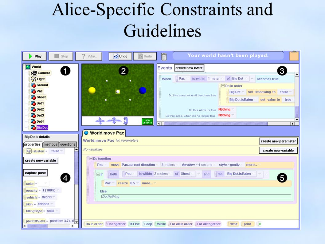 Alice-Specific Constraints and Guidelines