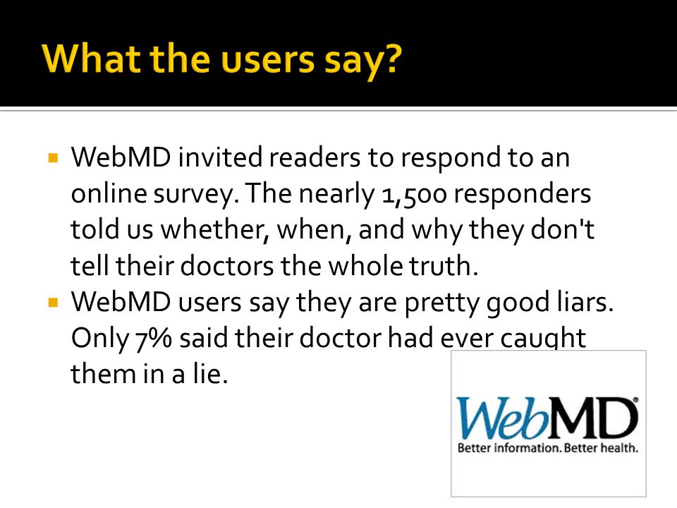  WebMD invited readers to respond to an online survey.