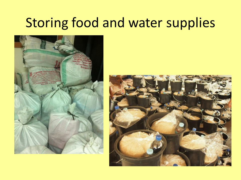 Storing food and water supplies