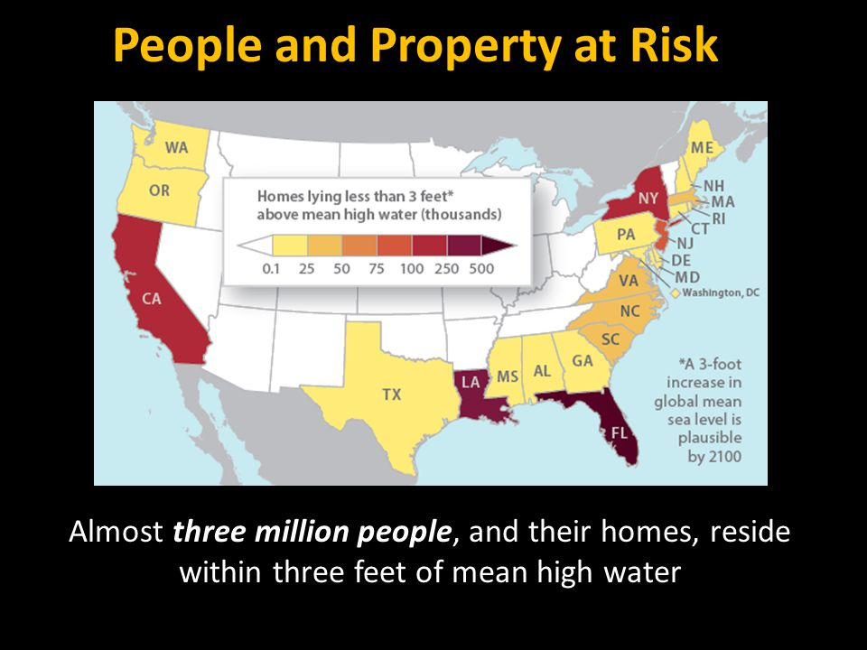 People and Property at Risk Almost three million people, and their homes, reside within three feet of mean high water