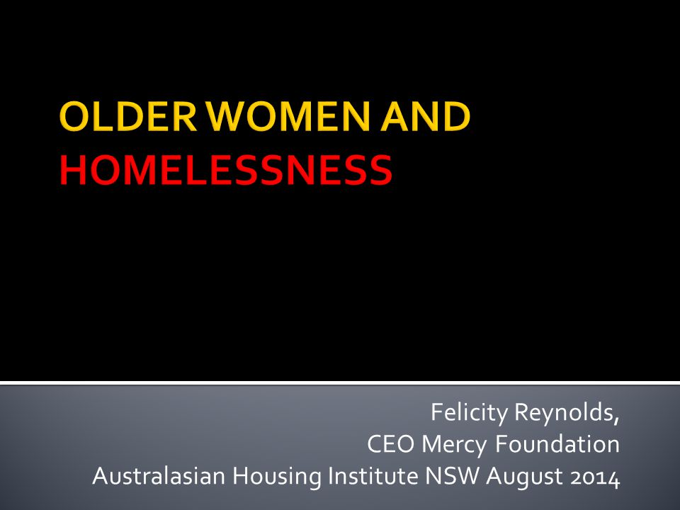 Felicity Reynolds, CEO Mercy Foundation Australasian Housing Institute NSW August 2014