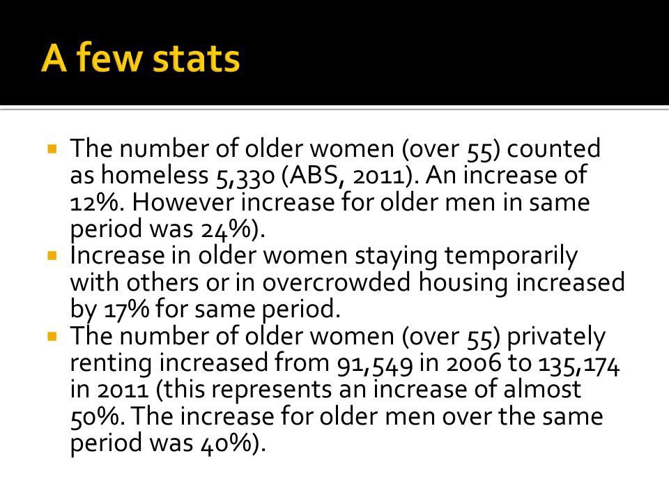  The number of older women (over 55) counted as homeless 5,330 (ABS, 2011).