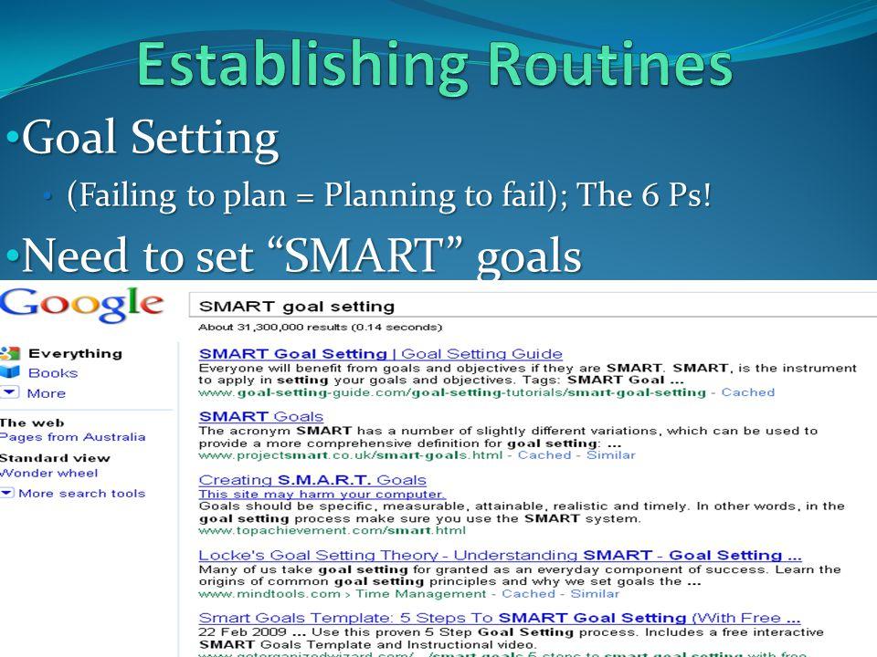 "Goal Setting Goal Setting (Failing to plan = Planning to fail); The 6 Ps! (Failing to plan = Planning to fail); The 6 Ps! Need to set ""SMART"" goals Ne"