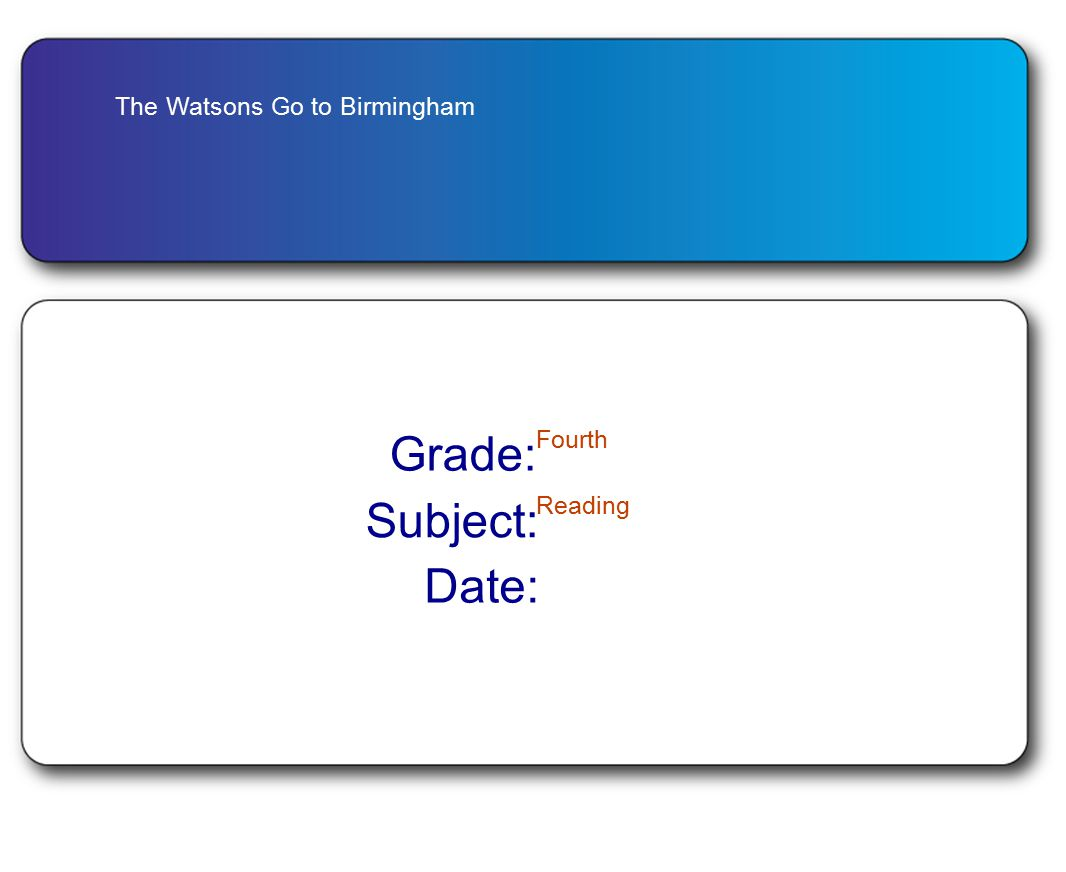 The Watsons Go to Birmingham Grade: Fourth Subject: Reading Date: