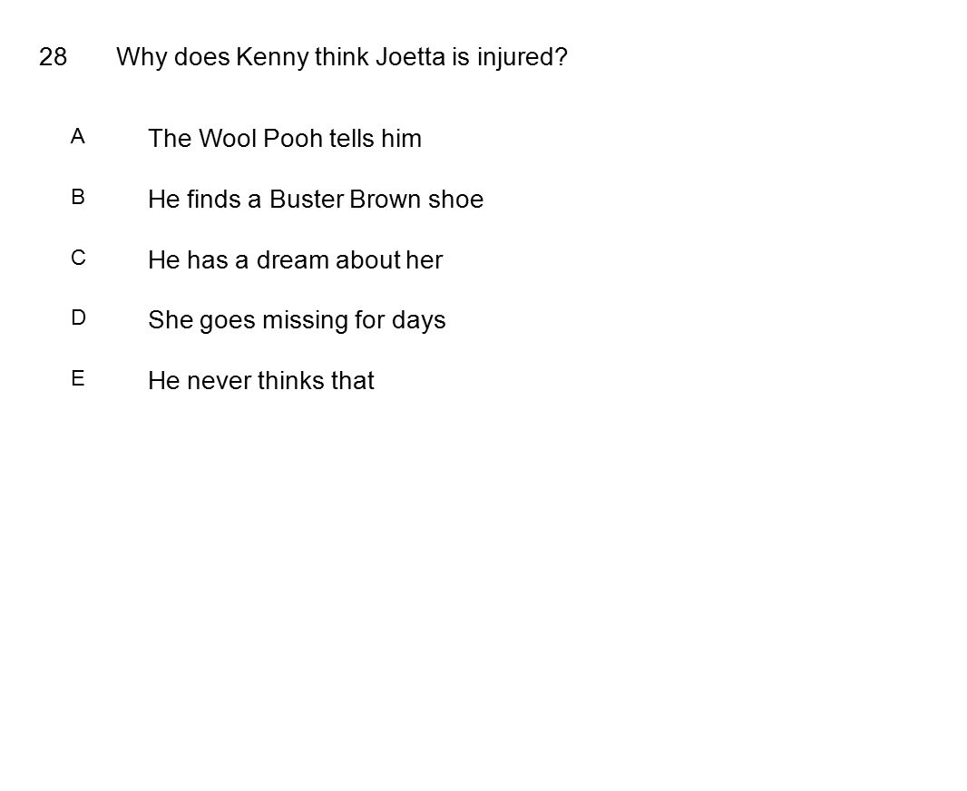 28Why does Kenny think Joetta is injured.