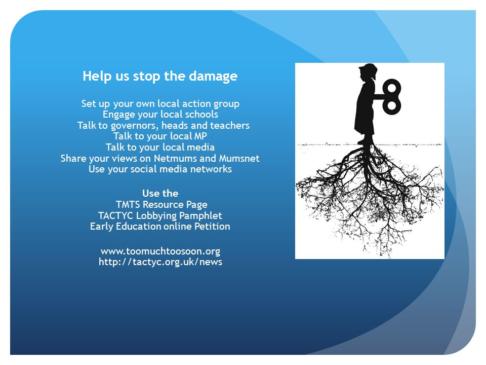 Help us stop the damage Set up your own local action group Engage your local schools Talk to governors, heads and teachers Talk to your local MP Talk