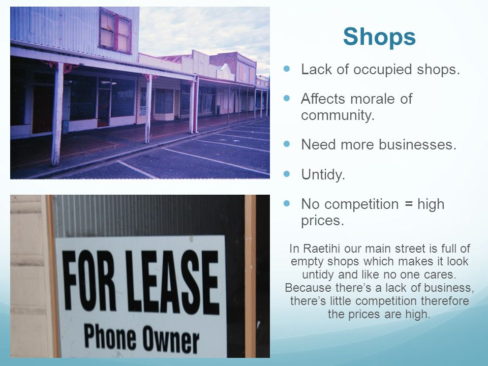 Shops Lack of occupied shops. Affects morale of community.