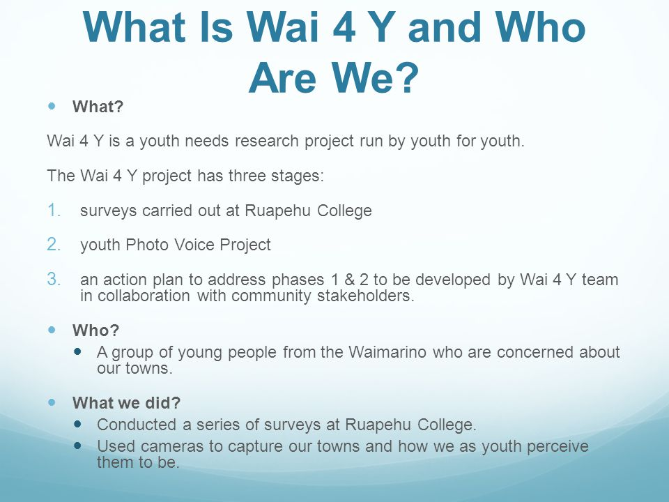 What Is Wai 4 Y and Who Are We. What.