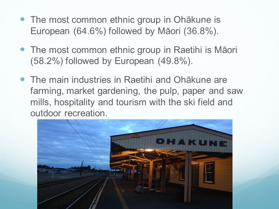 The most common ethnic group in Ohākune is European (64.6%) followed by Māori (36.8%).