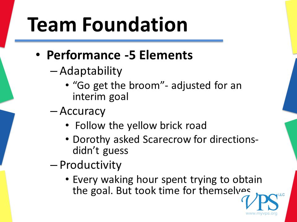 Team Foundation Performance -5 Elements – Adaptability Go get the broom - adjusted for an interim goal – Accuracy Follow the yellow brick road Dorothy asked Scarecrow for directions- didn't guess – Productivity Every waking hour spent trying to obtain the goal.