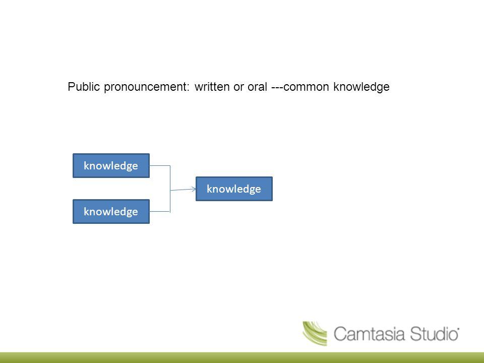Public pronouncement: written or oral ---common knowledge knowledge