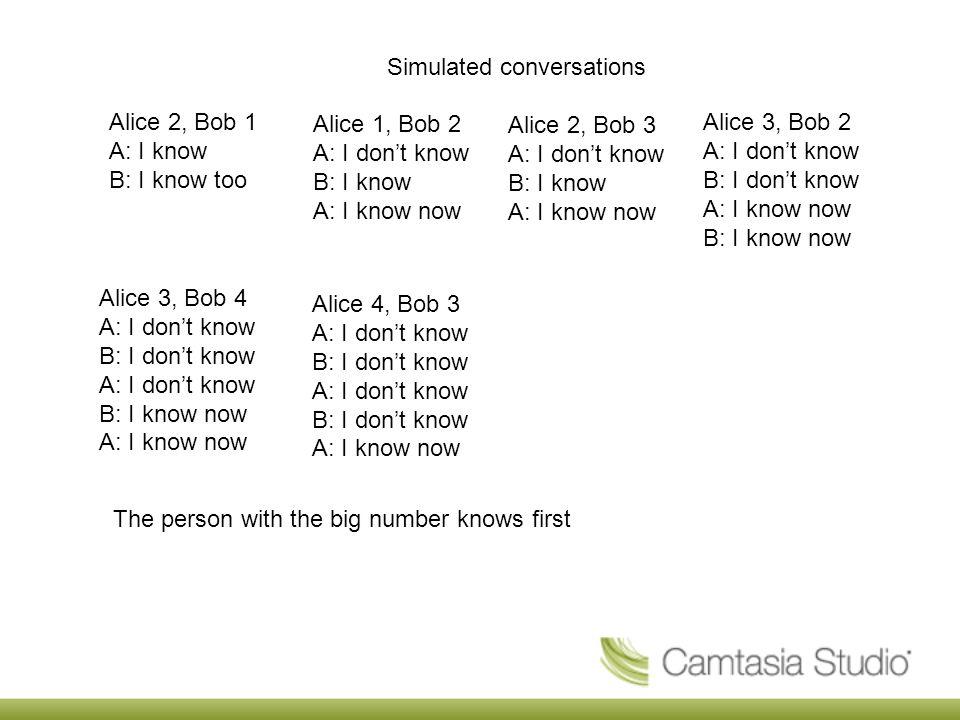 Simulated conversations Alice 1, Bob 2 A: I don't know B: I know A: I know now Alice 2, Bob 1 A: I know B: I know too Alice 2, Bob 3 A: I don't know B