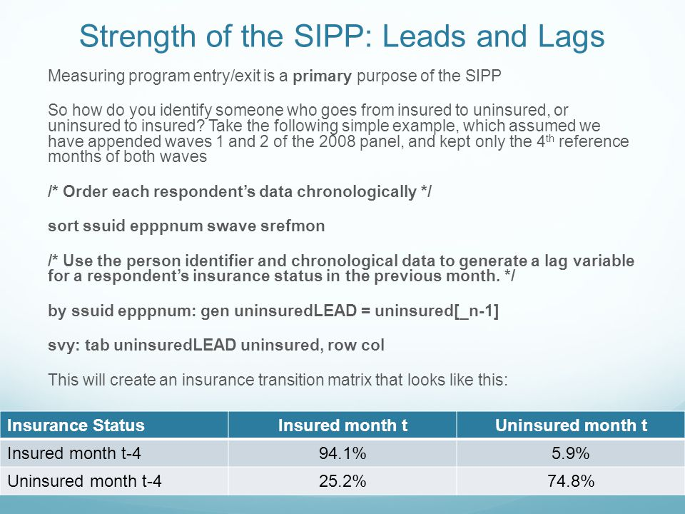 Strength of the SIPP: Leads and Lags Measuring program entry/exit is a primary purpose of the SIPP So how do you identify someone who goes from insured to uninsured, or uninsured to insured.