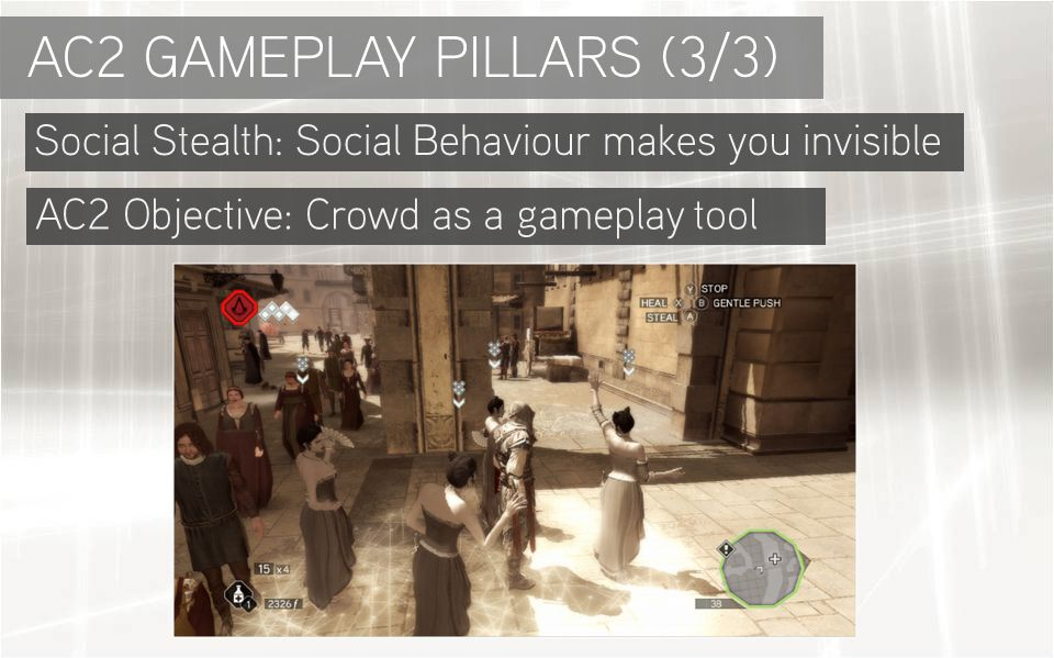 Social Stealth: Social Behaviour makes you invisible AC2 GAMEPLAY PILLARS (3/3) AC2 Objective: Crowd as a gameplay tool