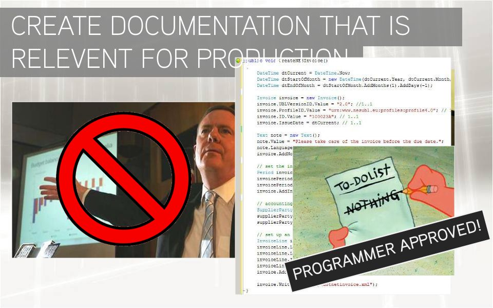 PROGRAMMER APPROVED! CREATE DOCUMENTATION THAT IS RELEVENT FOR PRODUCTION
