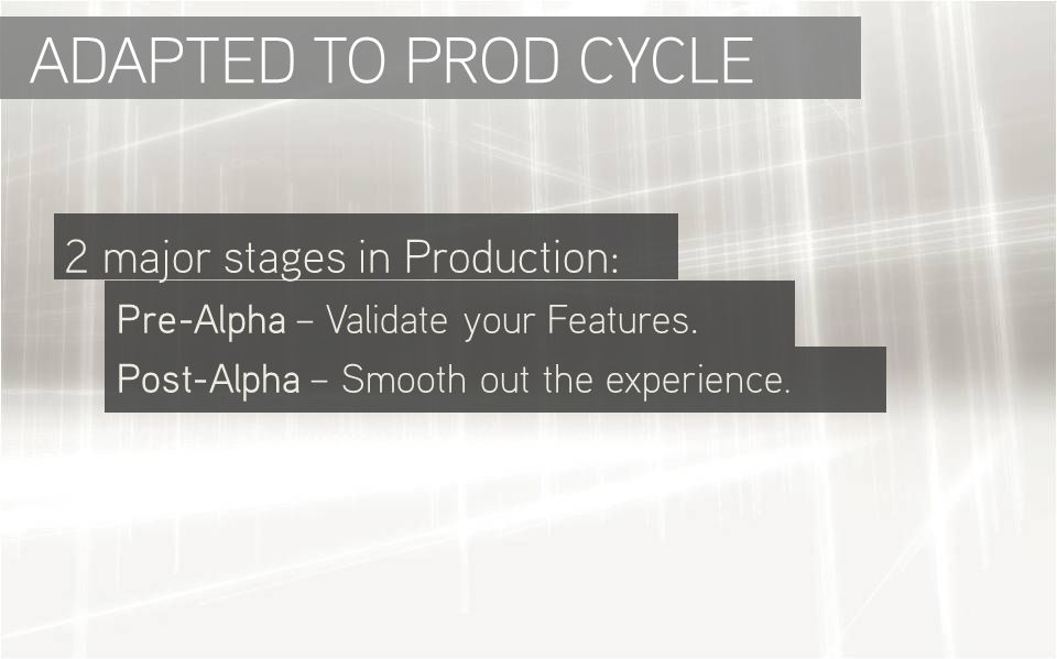 ADAPTED TO PROD CYCLE 2 major stages in Production: Pre-Alpha – Validate your Features.