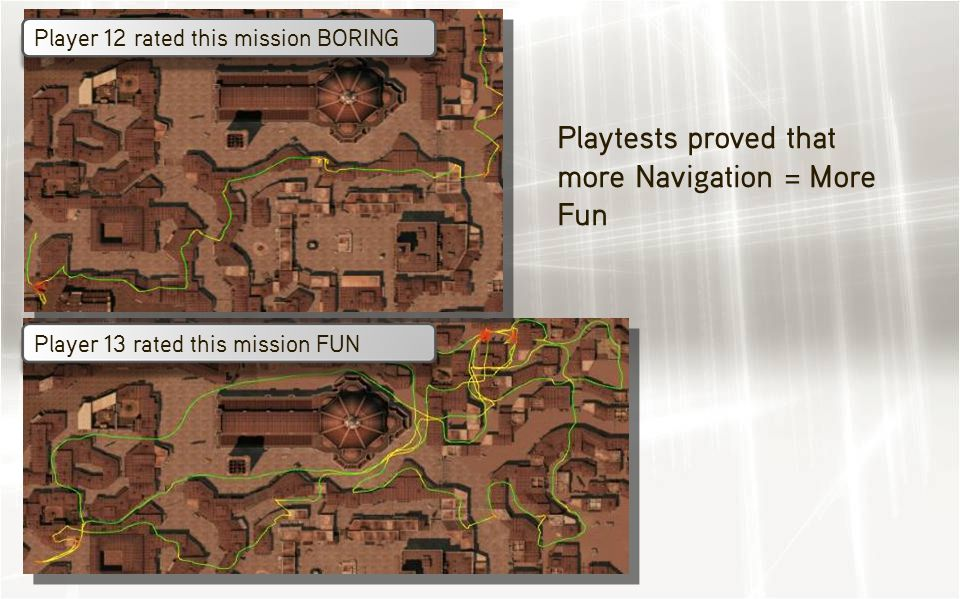 Player 12 rated this mission BORING Player 13 rated this mission FUN Playtests proved that more Navigation = More Fun