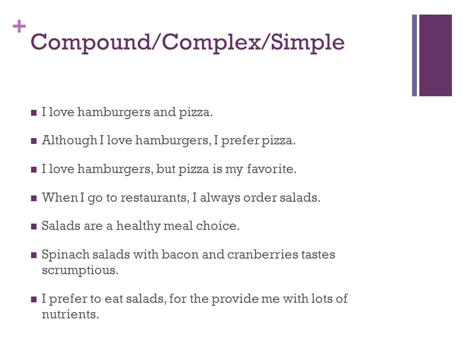 + Compound/Complex/Simple I love hamburgers and pizza.